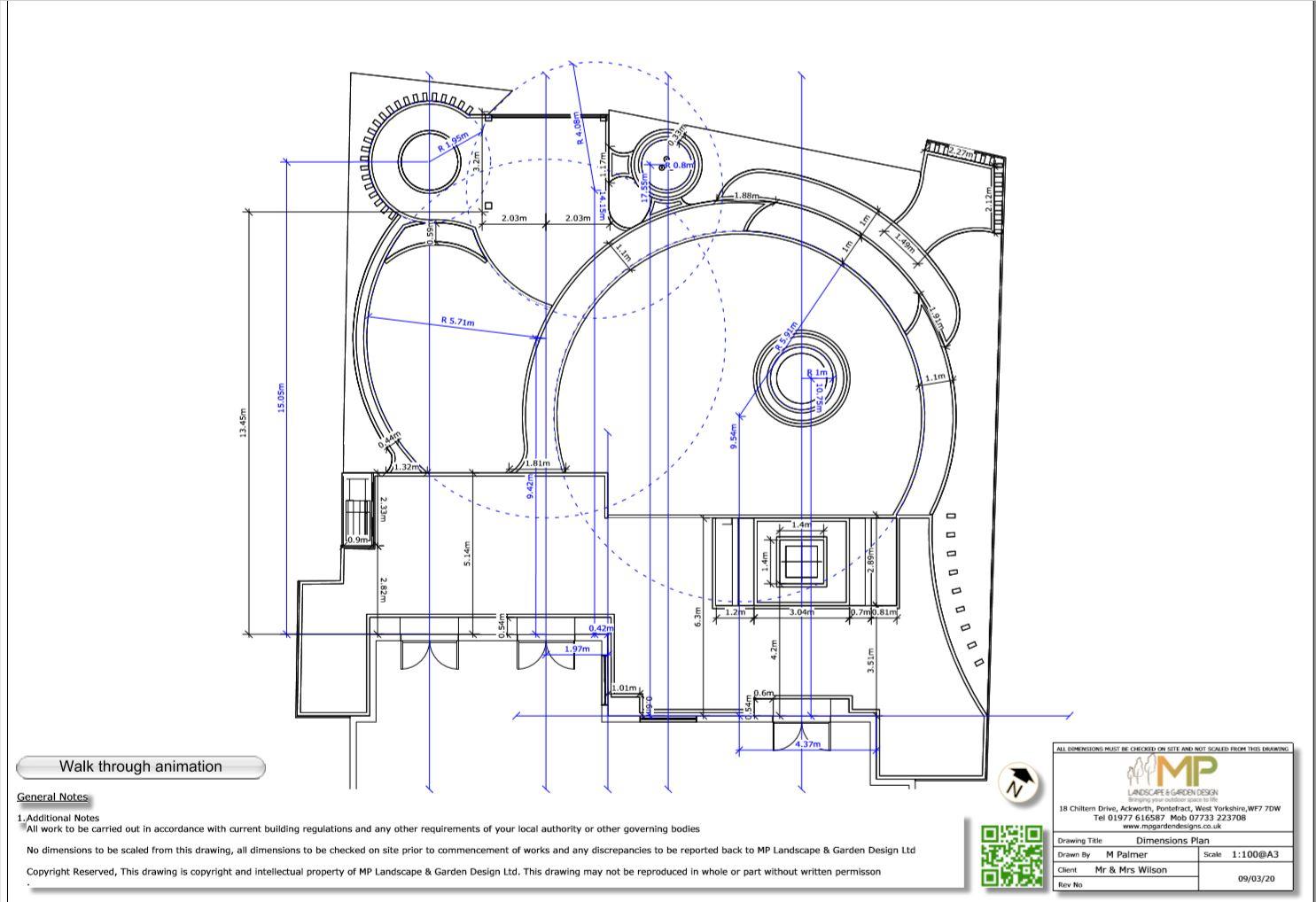 4.Garden layout dimensions plan, Wakefield.