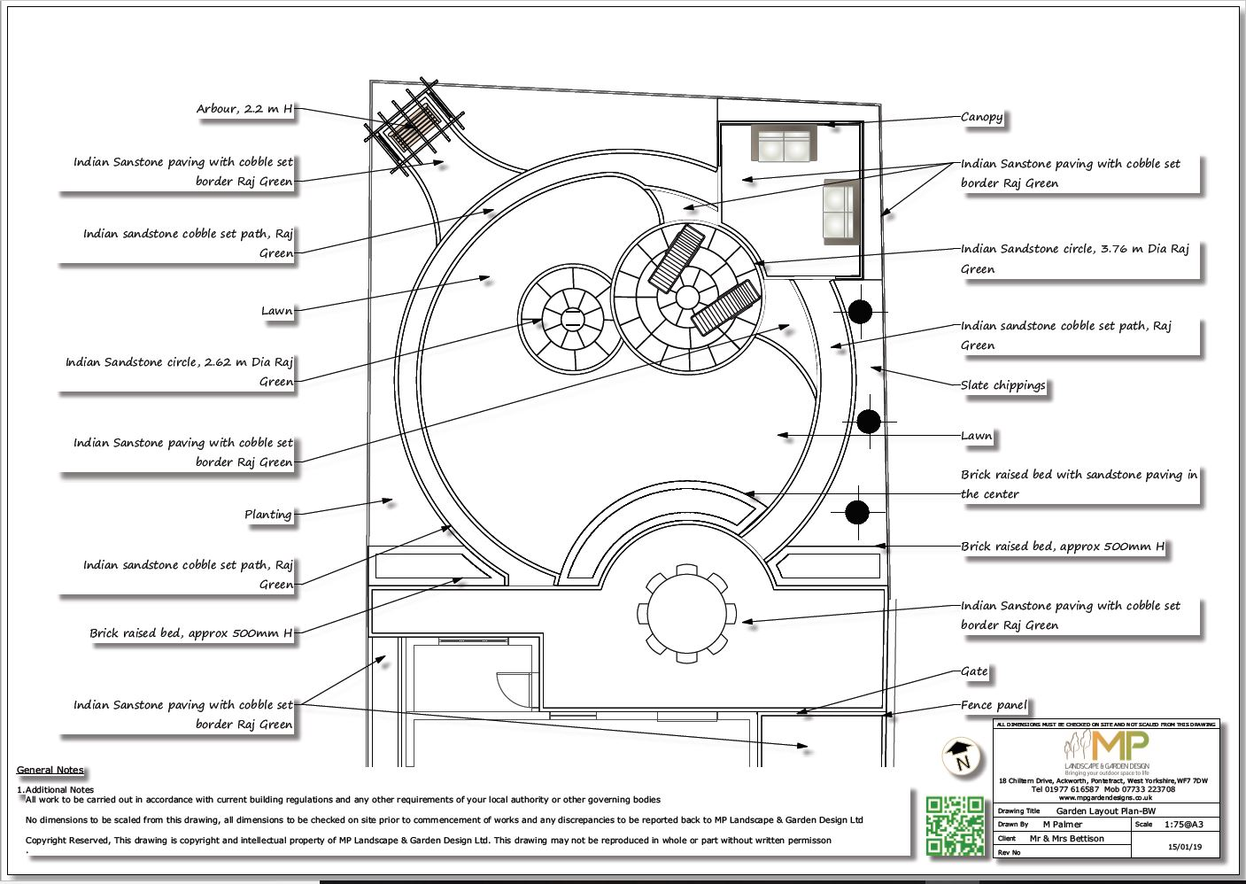 Black and White plans for a rear garden in Wakefield.
