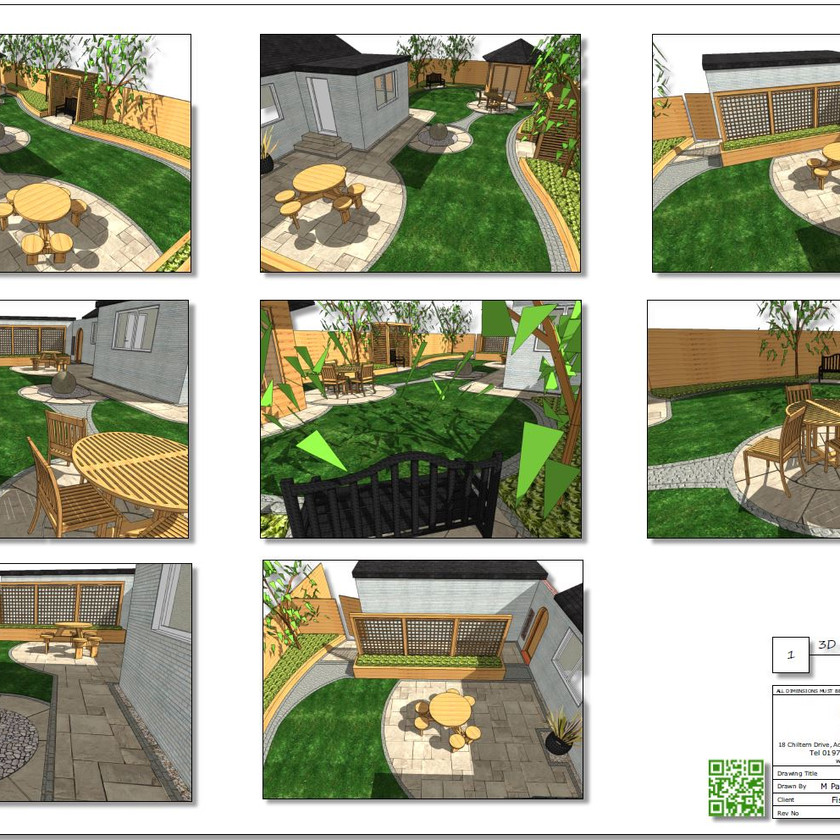 6. Concept Plan-2 for a rear garden in Wakefield, 3D images.