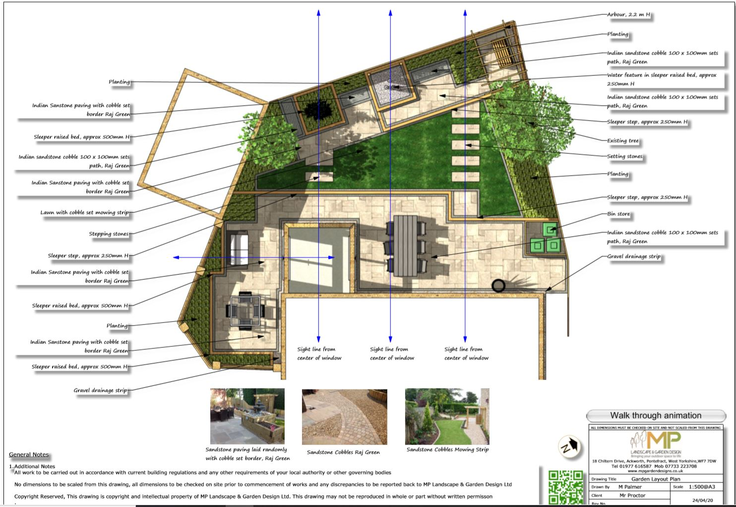 2, Colour garden layout plan for a rear garden South Kirkby