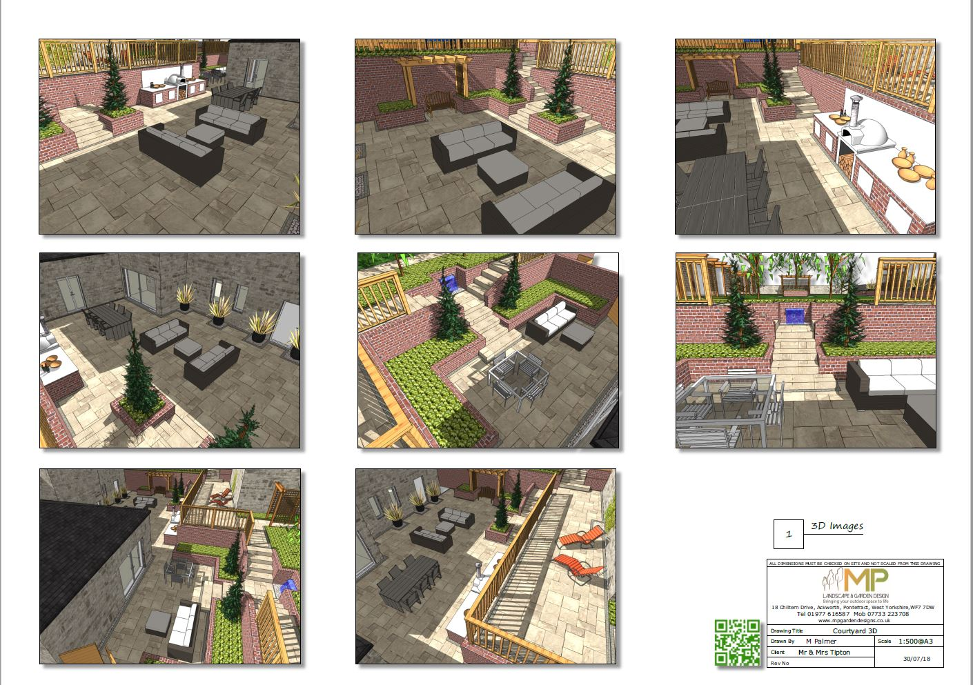 Courtyard layout plans 3D for a property in Pontefract.
