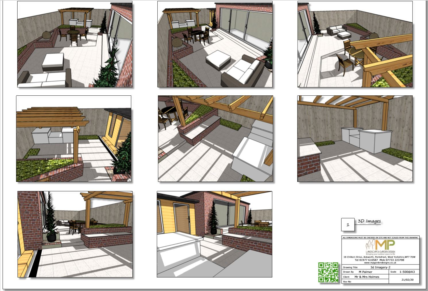 4, Concept plan 3D images-1 for a rear garden in Wakefield