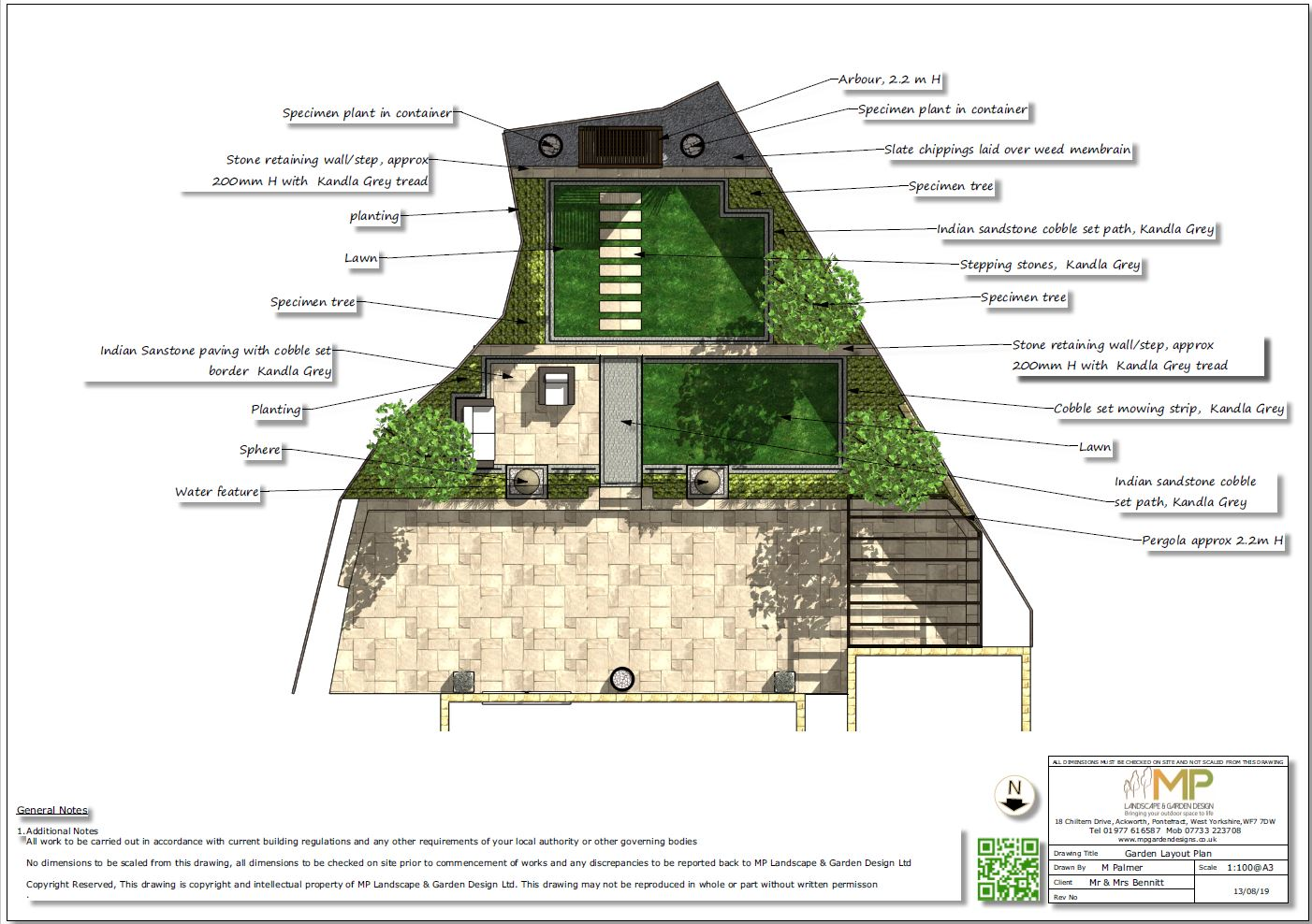 1-Garden layout plan for a new bild property in Wakefield
