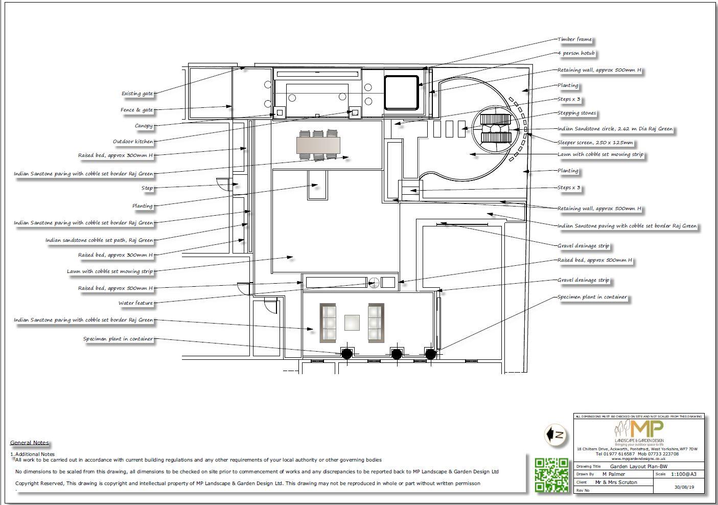 2. Garden layout plan, black & white for a property in Pollington
