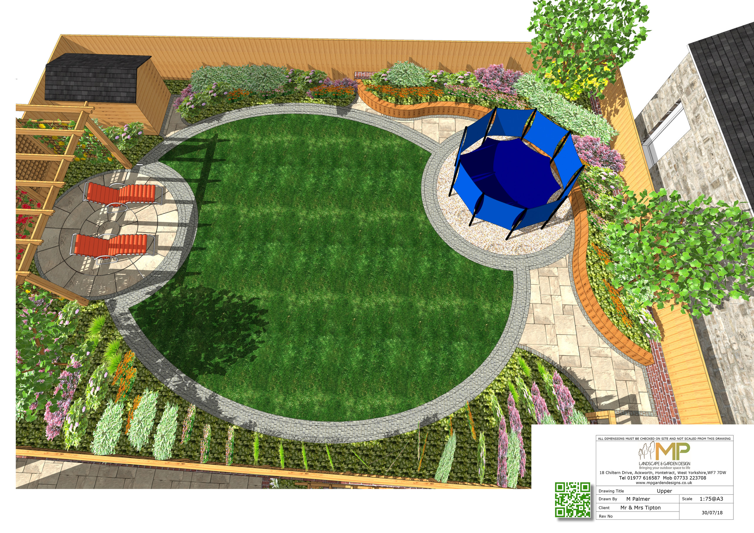 Garden layout plans 3D for a property in Castleford.