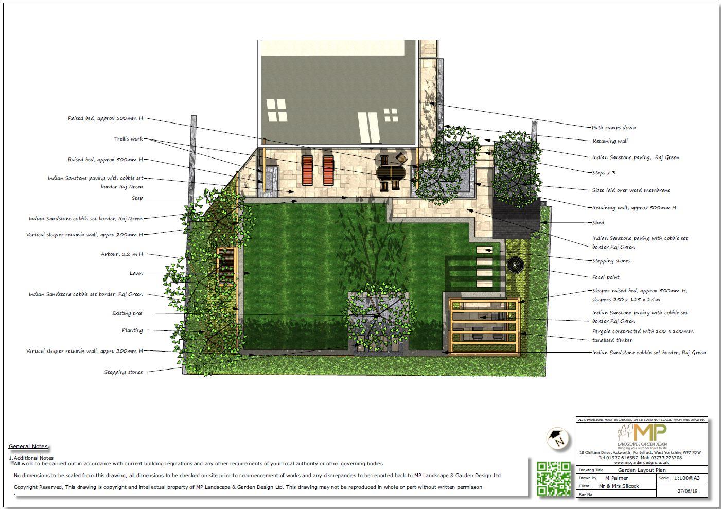 1, Garden layout plan for a property in Mickelfield