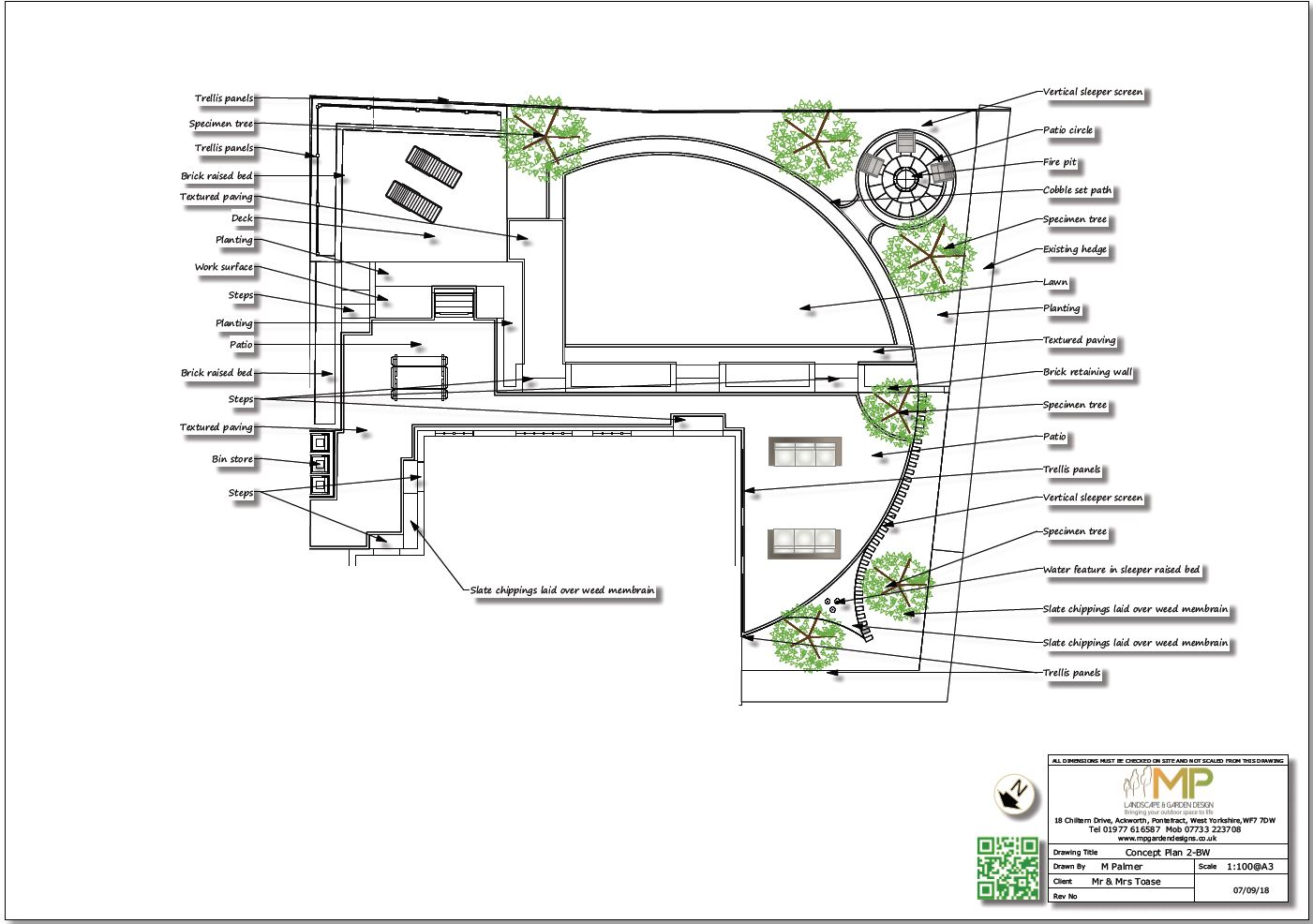 Garden design concept plan - 2 black and white for a rear garden in Wakefield