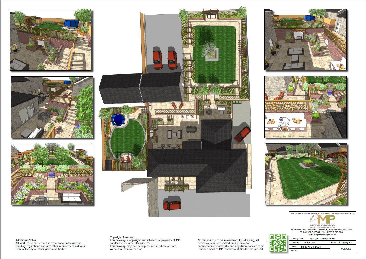 1, 3D views of a landscape design for a barn conversion in Castleford, West Yorkshire.