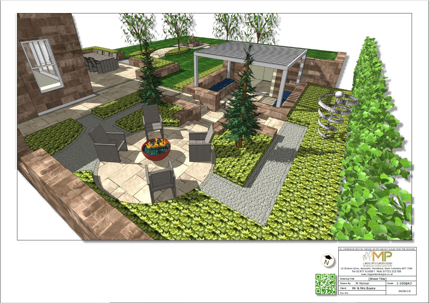 Concept plan-2 3D for part of a garden in Ackworth.