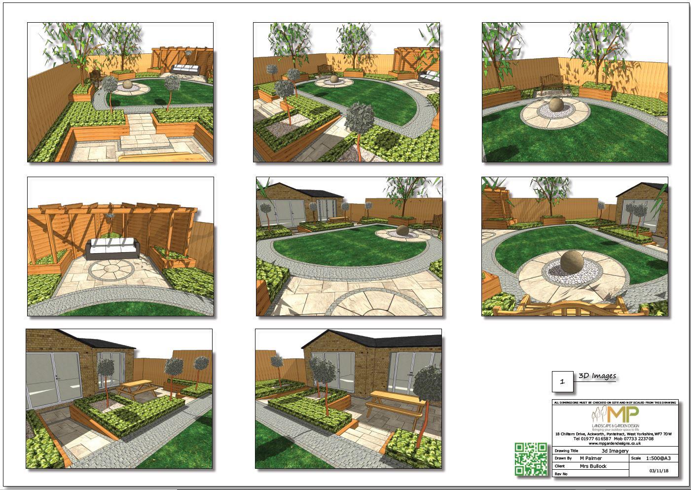 Concept plan-1 3D images for a rear garden in Mexeborough.