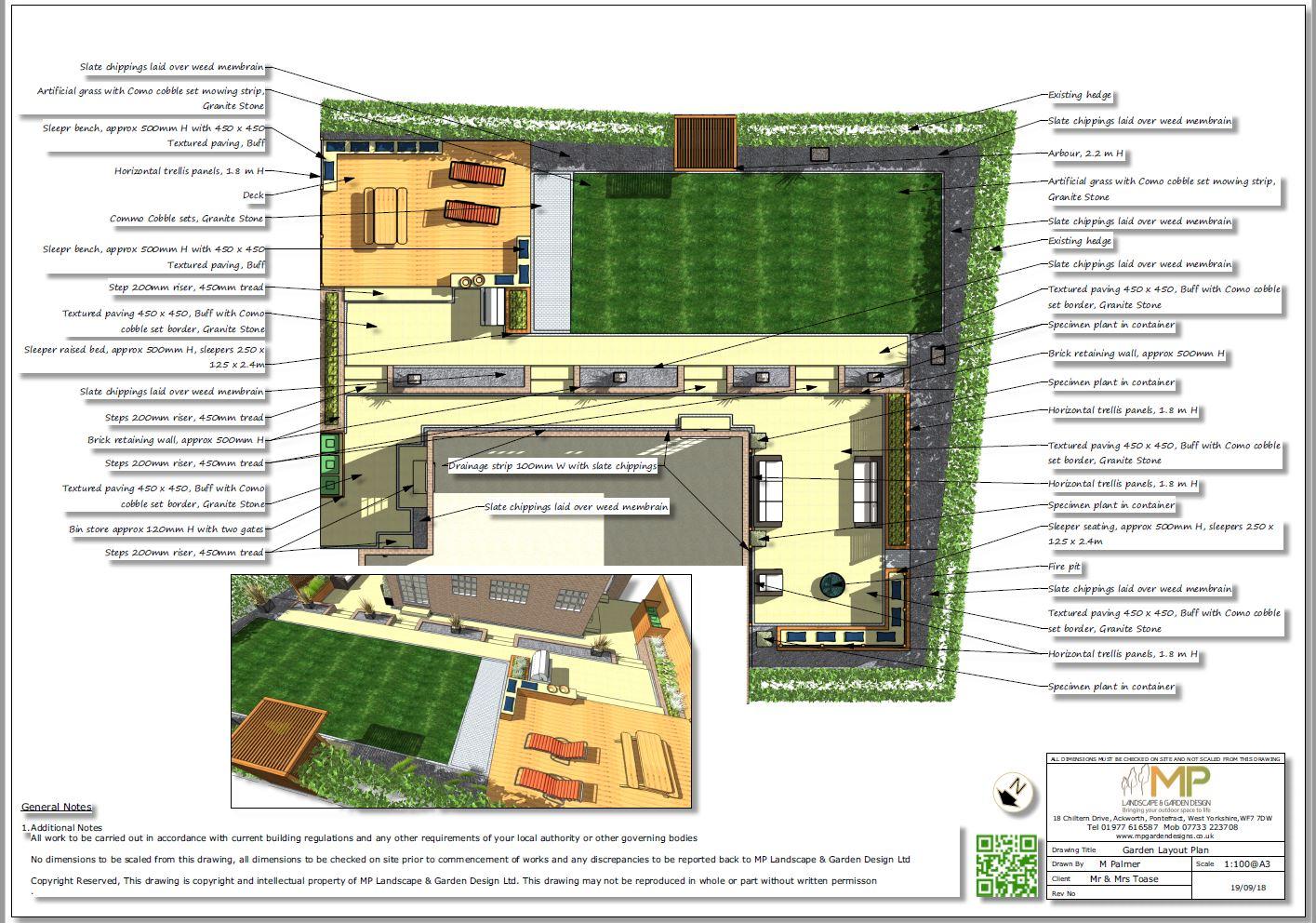 Garden design layout plan for a rear garden in Wakefield