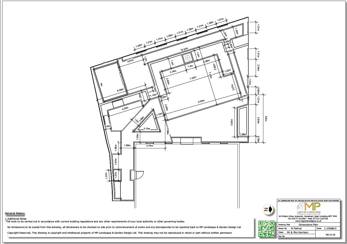 Dimensions plan for a rear garden in Wistow, North Yorshire.