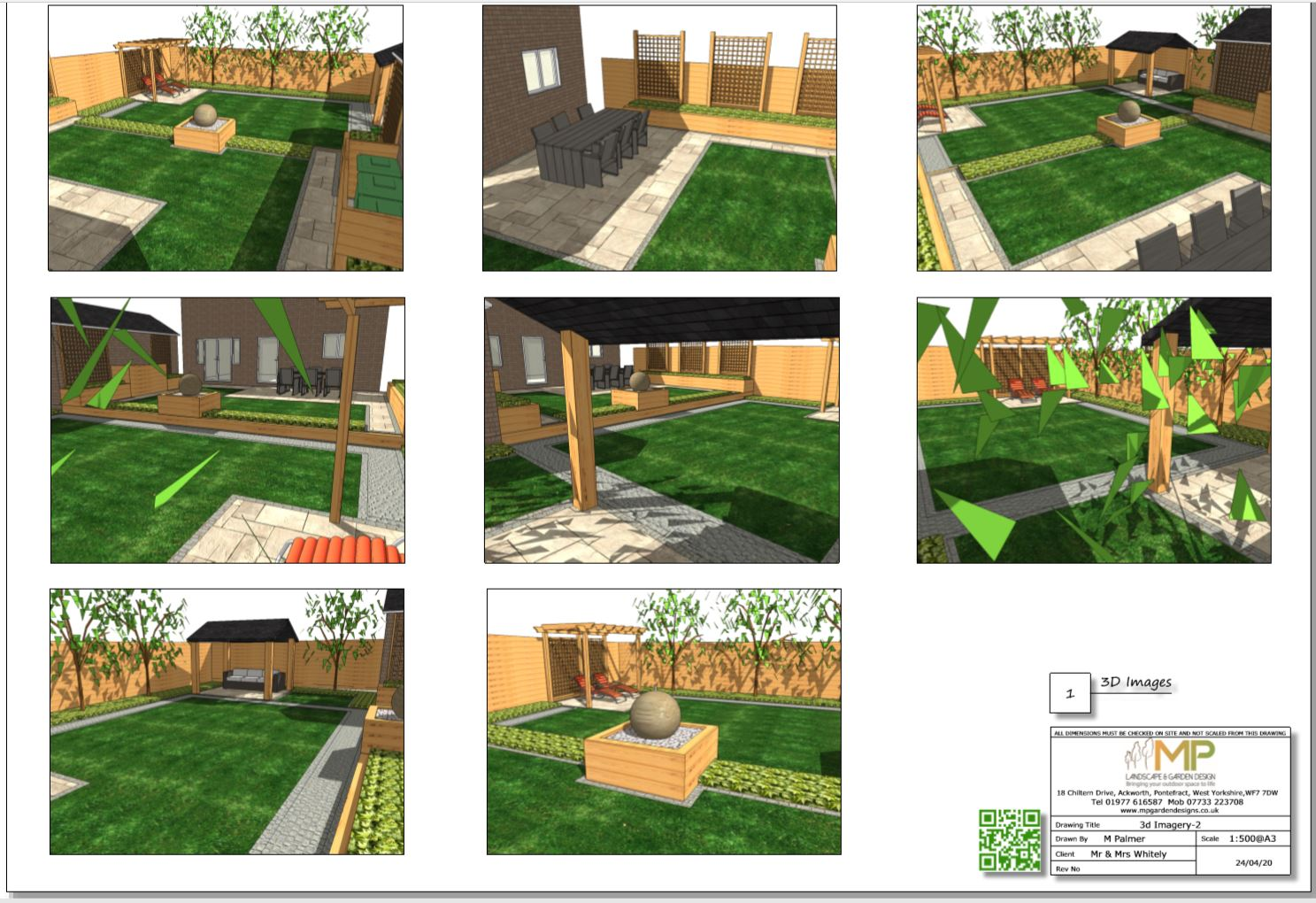 8, Concept plan-2, 3D images for a rear garden in Pontefract