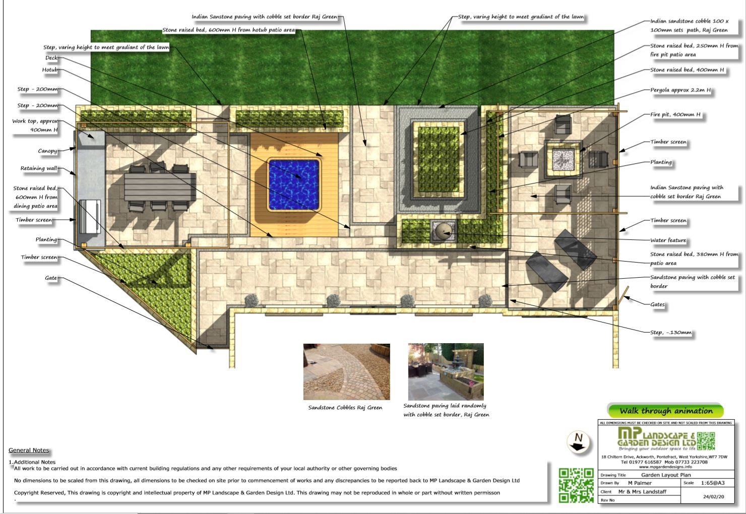 2, Colour patio layout plan for a property in Wakefield
