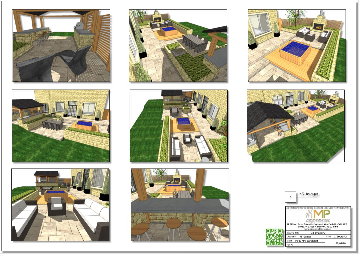 3. Concept plan 3D imags for a rear patio area in Wakefield