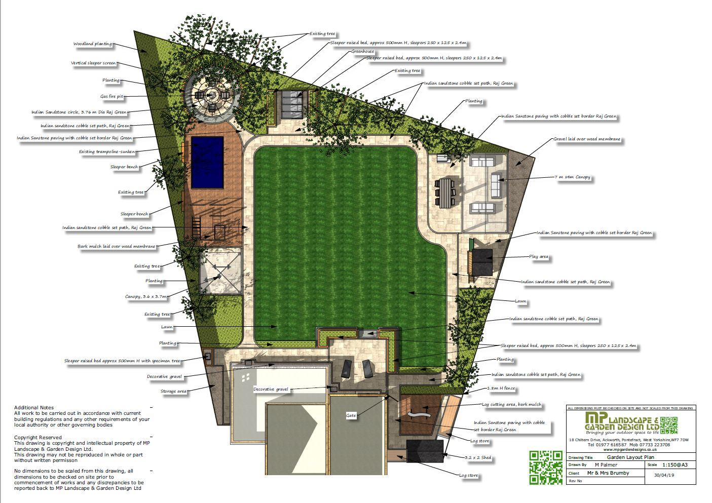 1,Garden layout plans for a rear garden in Darrington