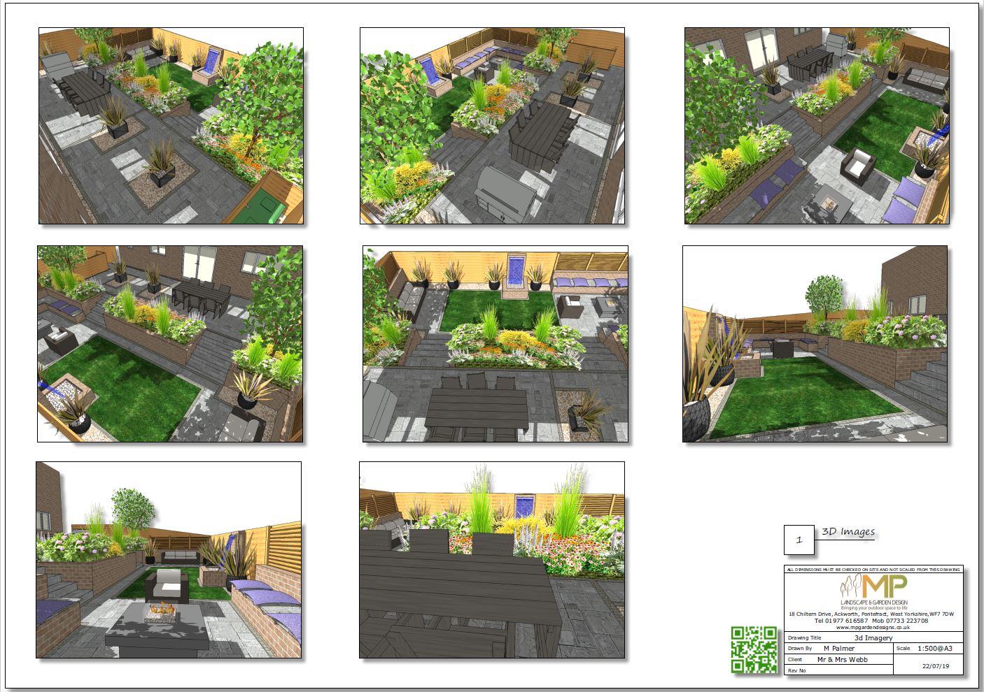 3, 3D colour garden layout plan for a new build property in Pontefract.
