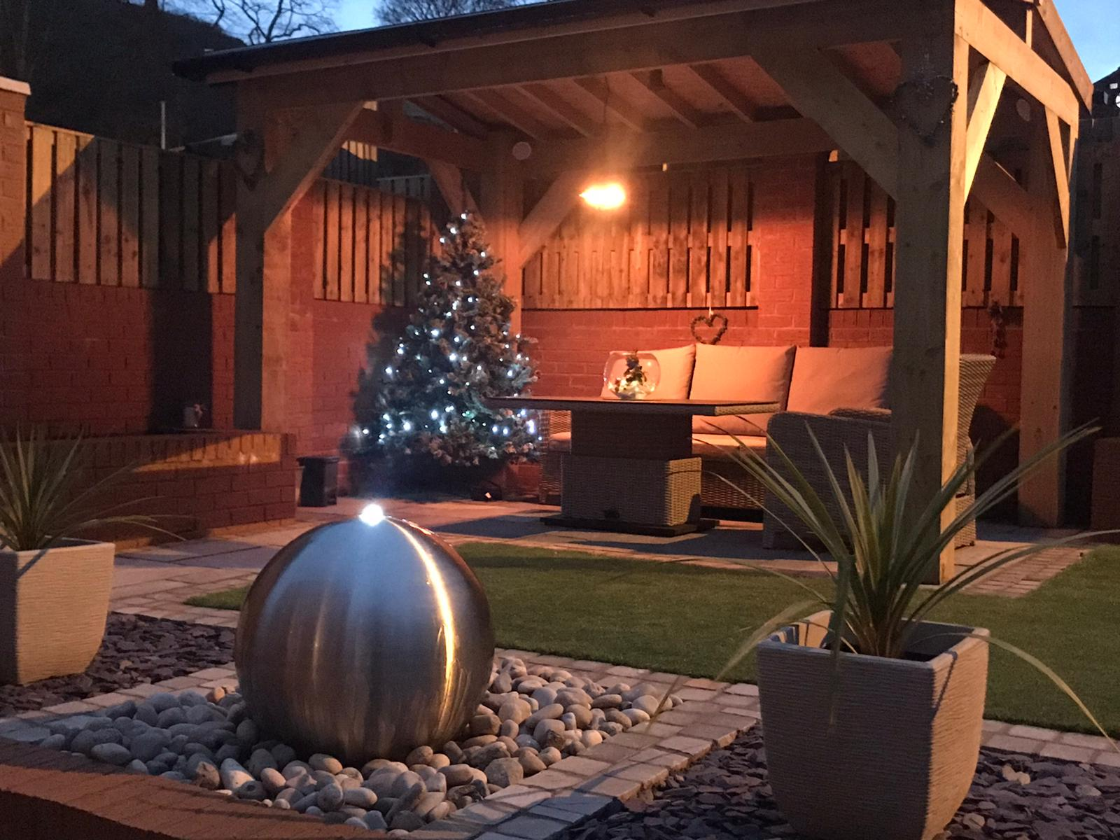 Canopy, water feature, Kandla grey paving and Christmas tree!!