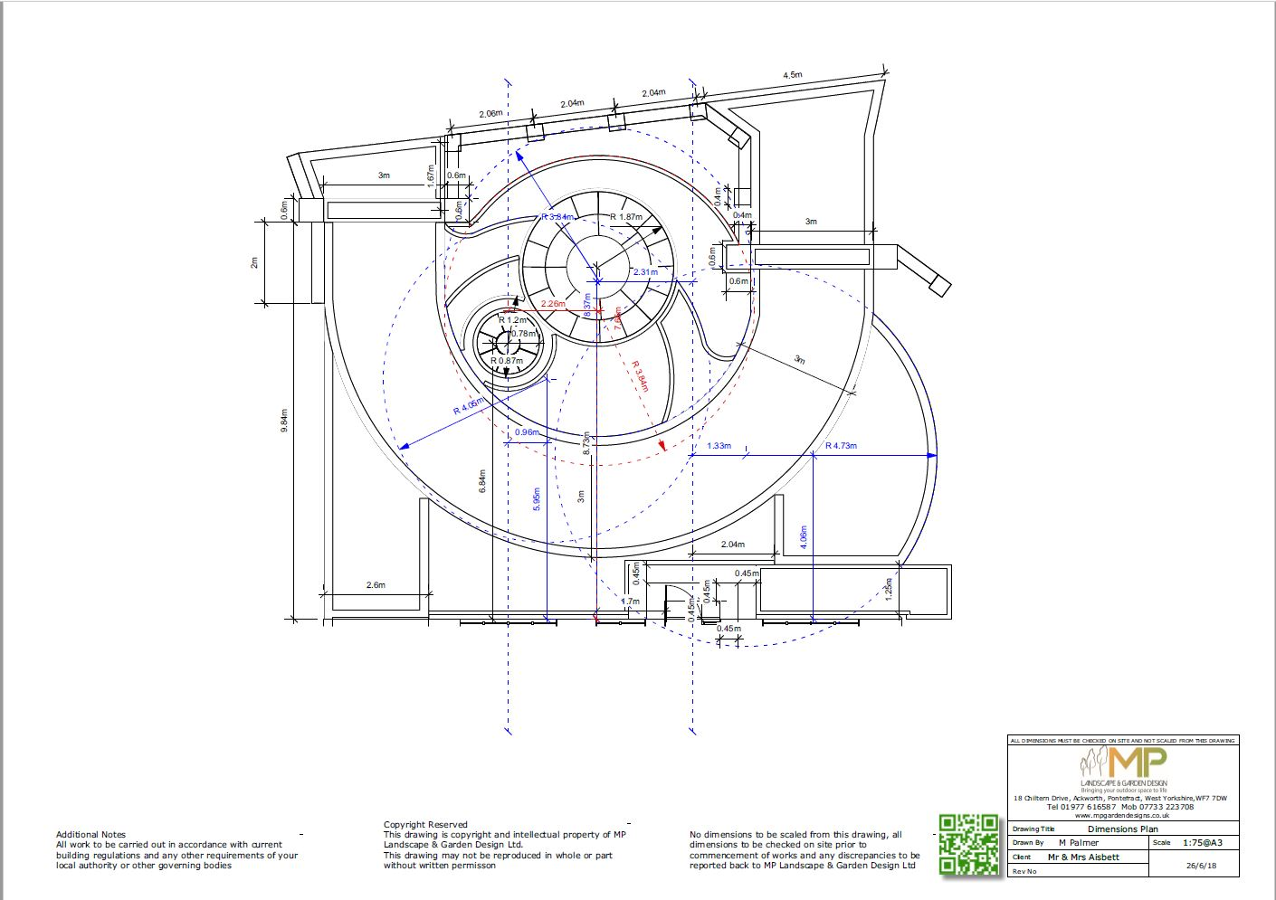 Font garden layout dimensions plans for a prperty in Notton, Wakefield