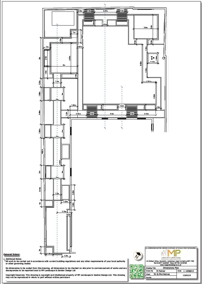 Dimensions plan for a property in Ackworth, Pontefract.