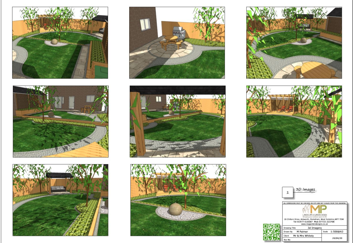 4, Concept plan-1, 3D images for a rear garden in Pontefract