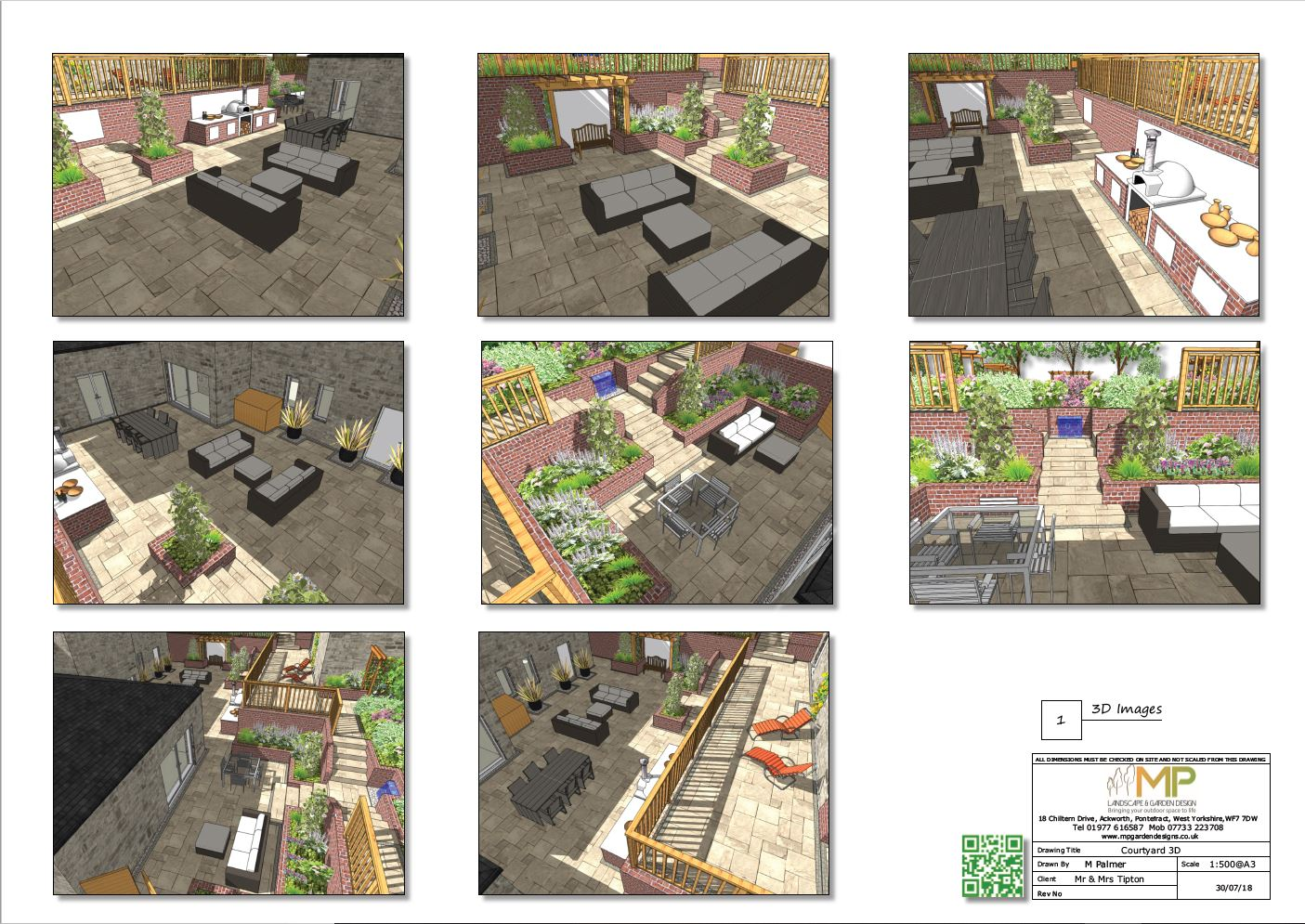Courtyard layout plans 3D, for a property in Castleford.