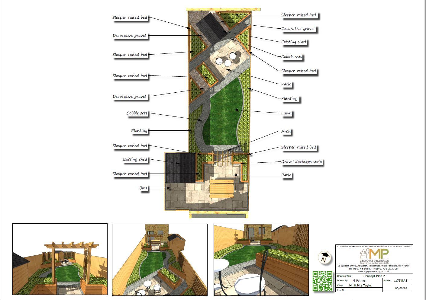 Concept plan-2 for a rear garden in Fitzwilliam.