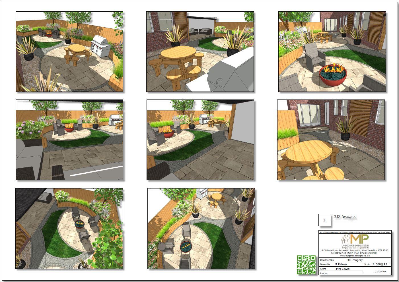 3, Garden layout plans-3D images, Castleford.