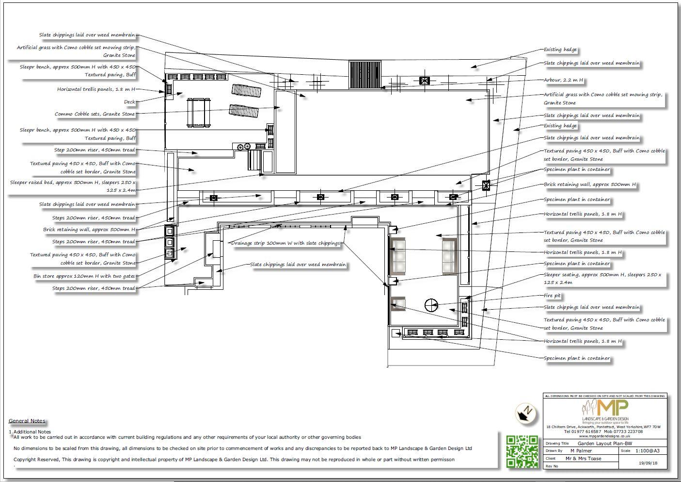 Garden design layout plan black and white for a rear garden in Wakefield