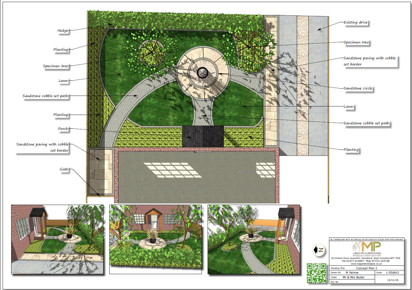 Colour garden design concept plan-1 for a front garden in Ackworth, Pontefract.