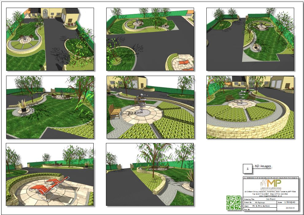 Landscape design concept plan-1 3D images for a property in Wakefield.