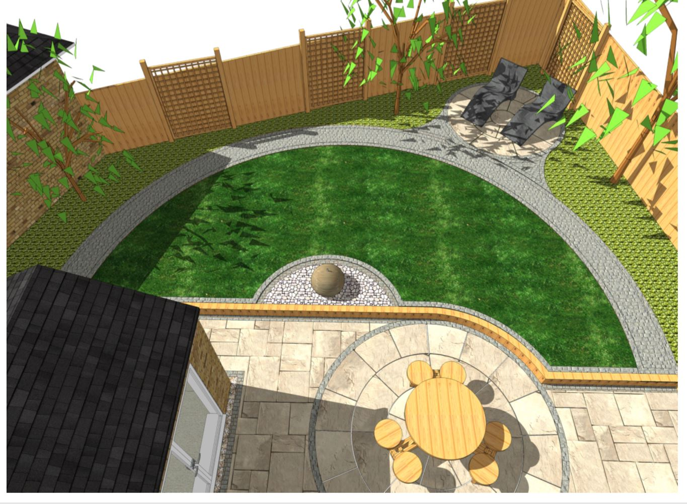 1, Concept plan overview for a rear garden in South Kirkby