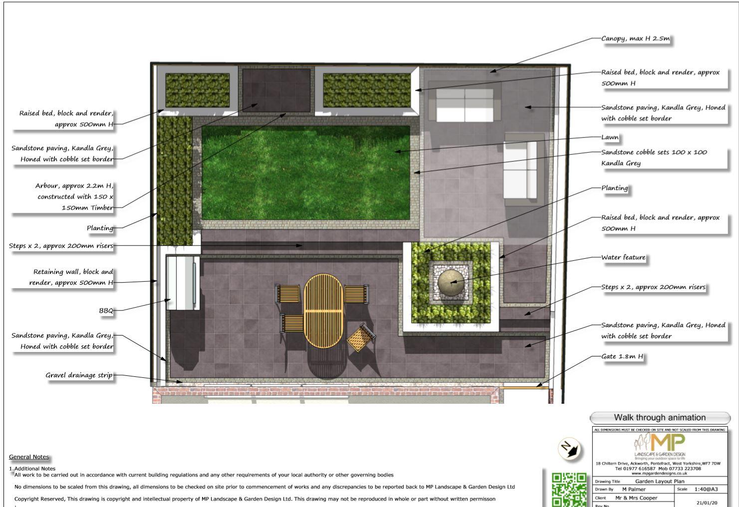 1, Colour garden layout plan for a rear garden in Pontefract.