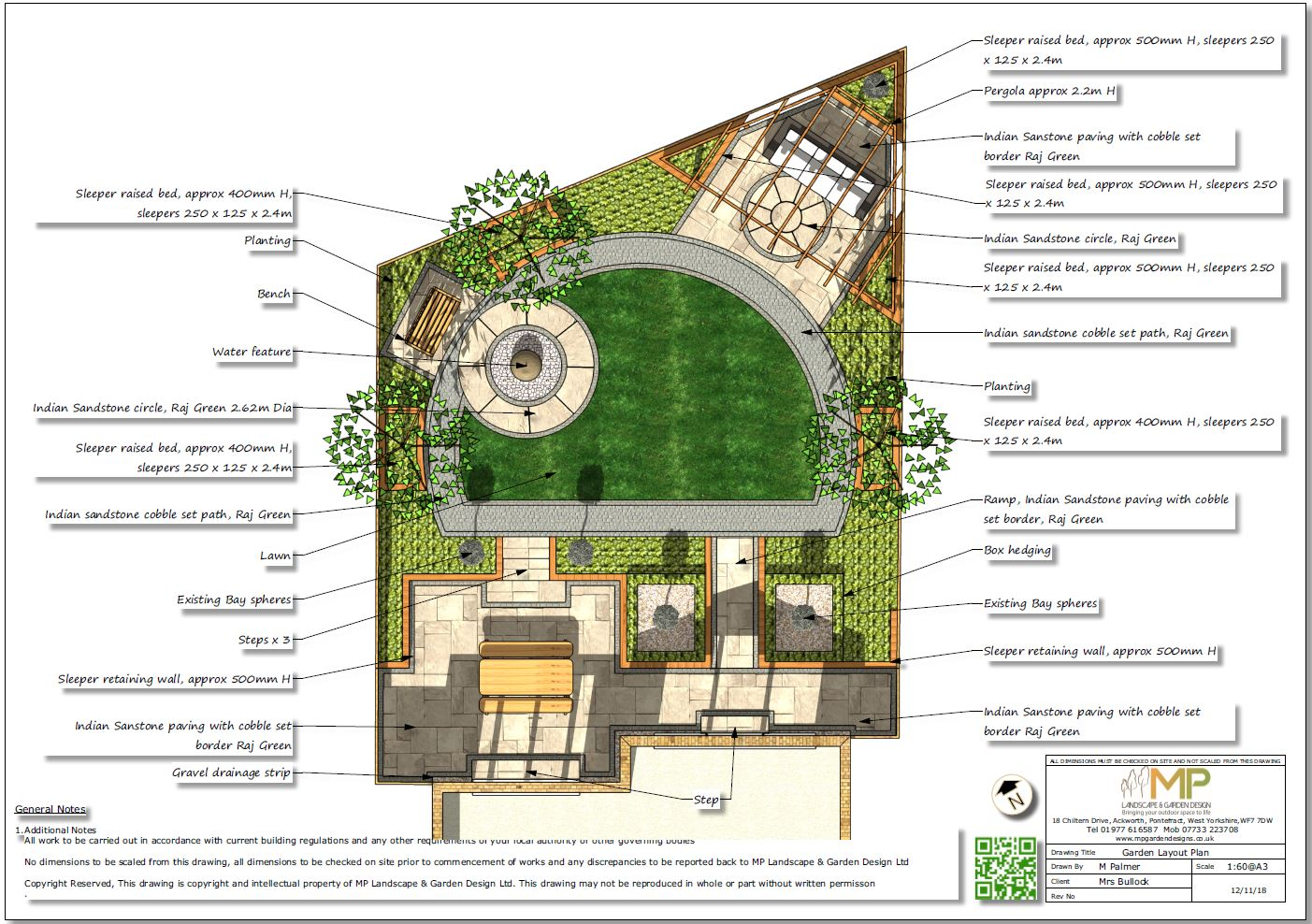 Garden design layout plan for a rear garden in Mexborough.
