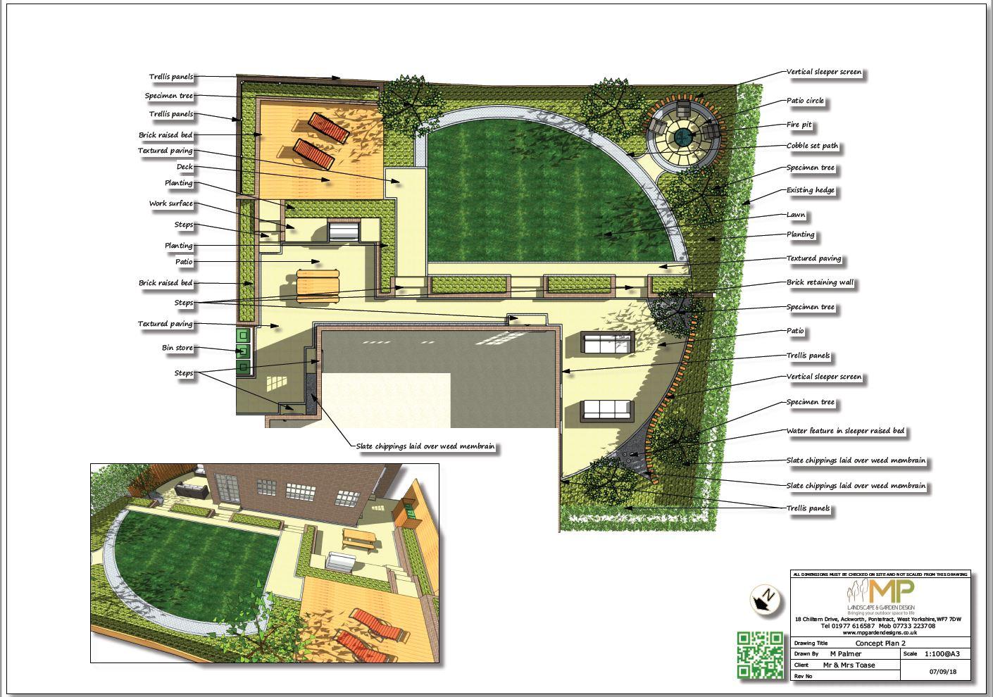 Garden design concept plan - 2  for a rear garden in Wakefield
