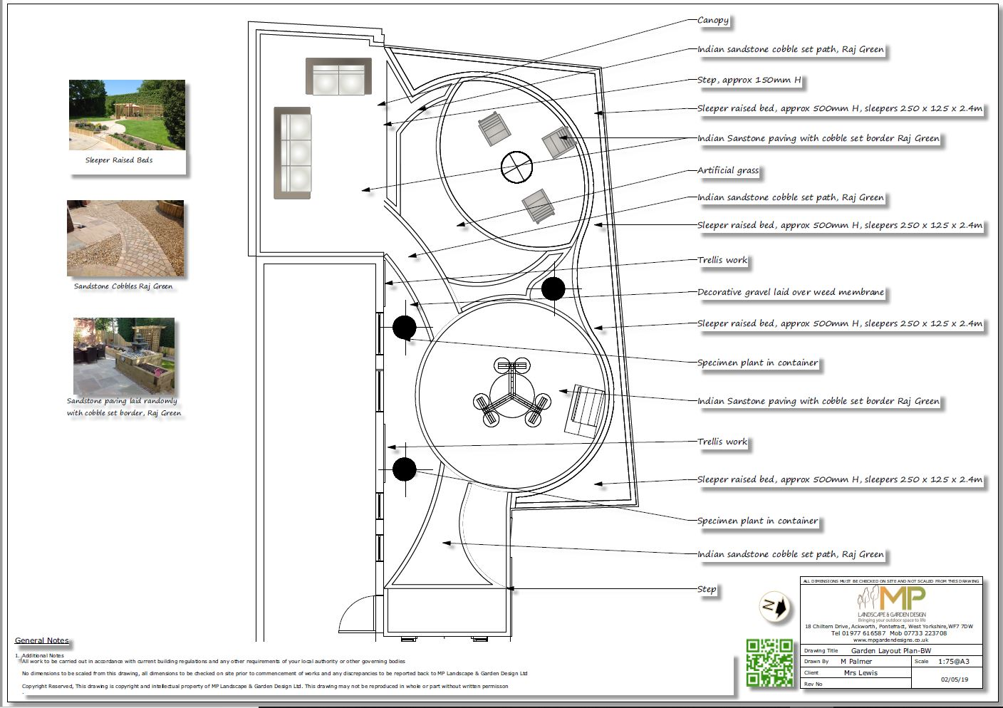 2, Garden layout plans-black and white, Castleford.