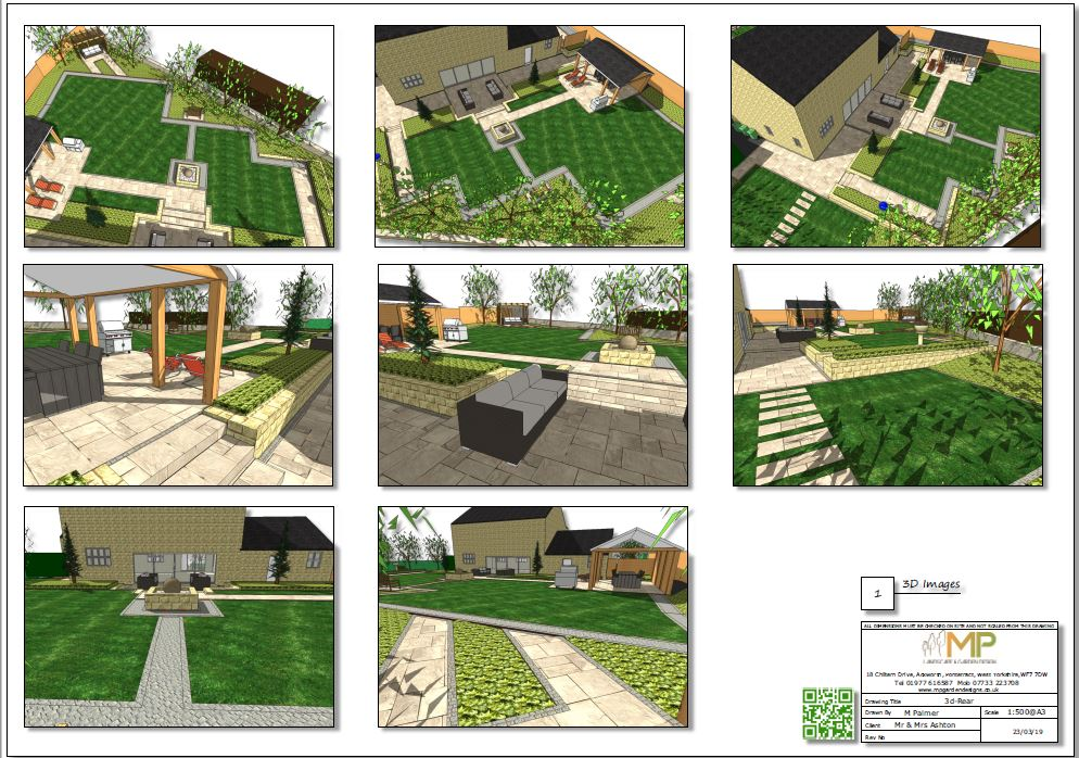 Landscape design concept plan-1, 3D images-rear for a property in Wakefield.