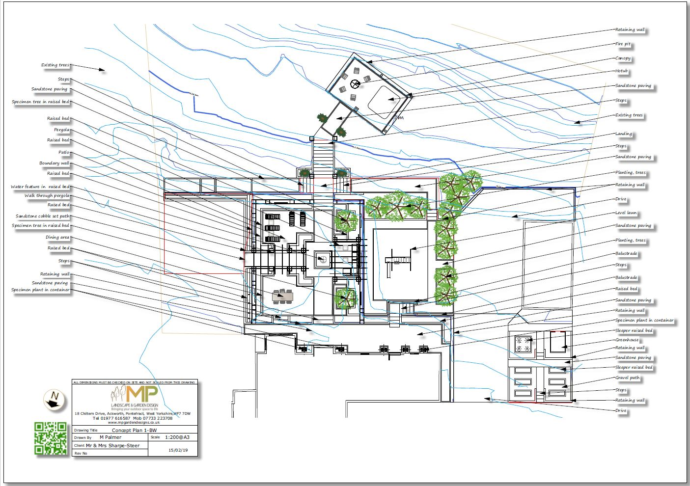 Concept Garden design plan-2 for a property in Wakefield, West Yorkshire.