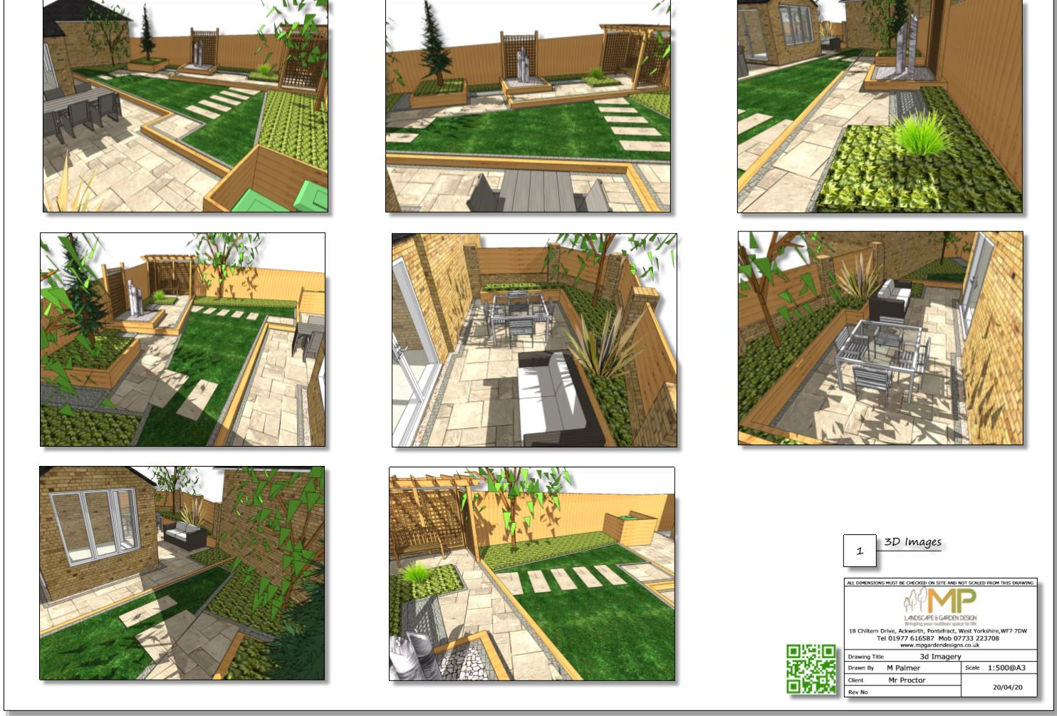 4, Concept plan-1 3D images for a rear garden in South Kirkby