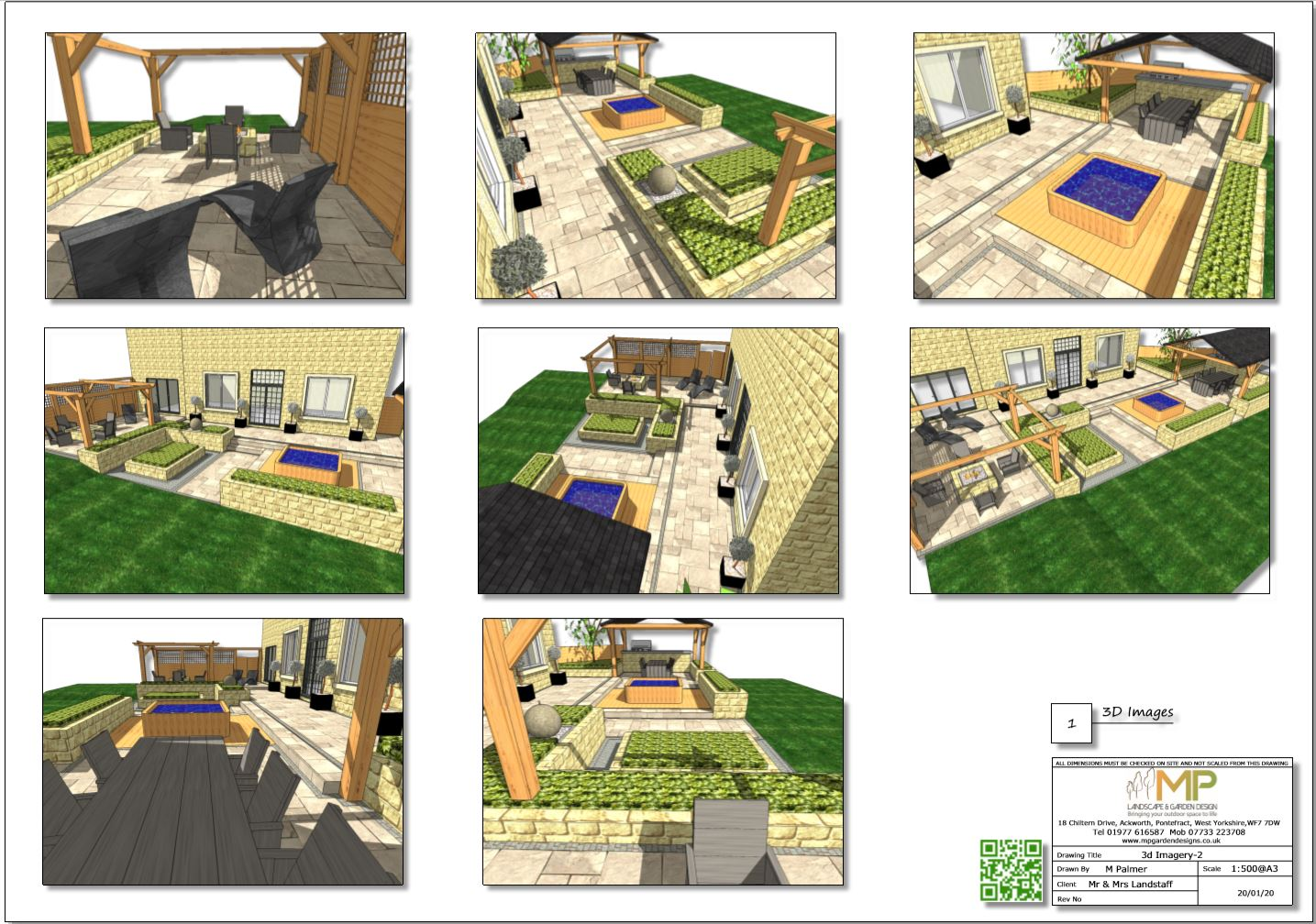 6. Concept plan-2 3D imags for a rear patio area in Wakefield