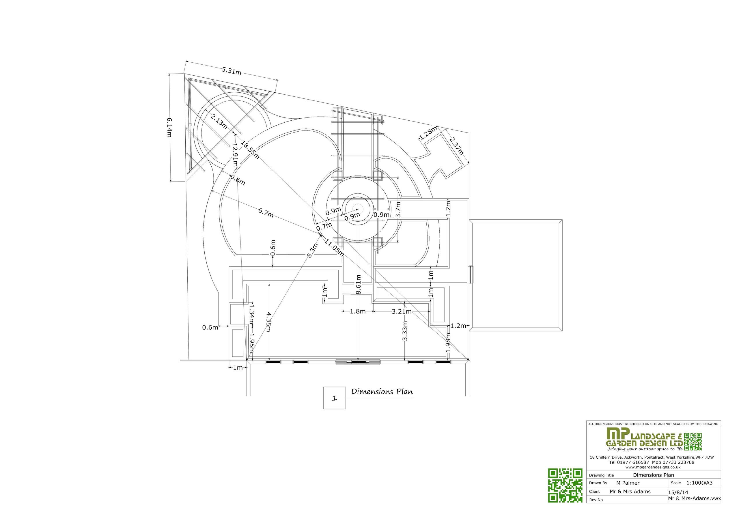Garden Design layout dimensions plans for a garden in Wakefield