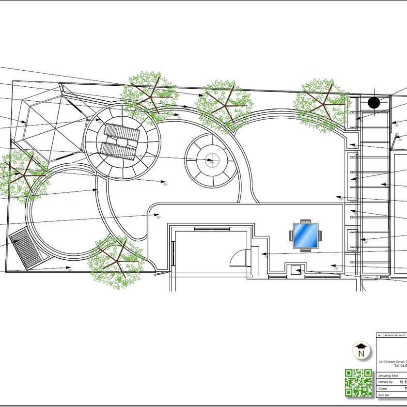 2. Concept Plan for a rear garden in Wakefield, black and white.