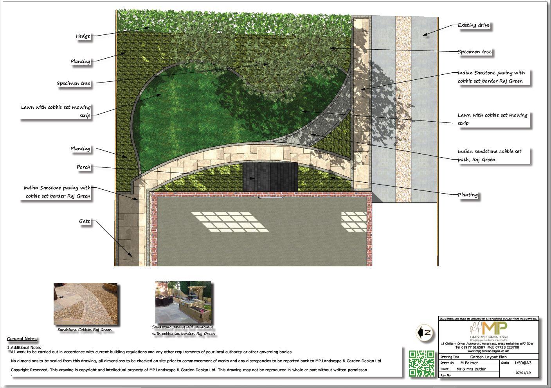 Garden design layout plans for a front garden in Ackworth, Pontefract.