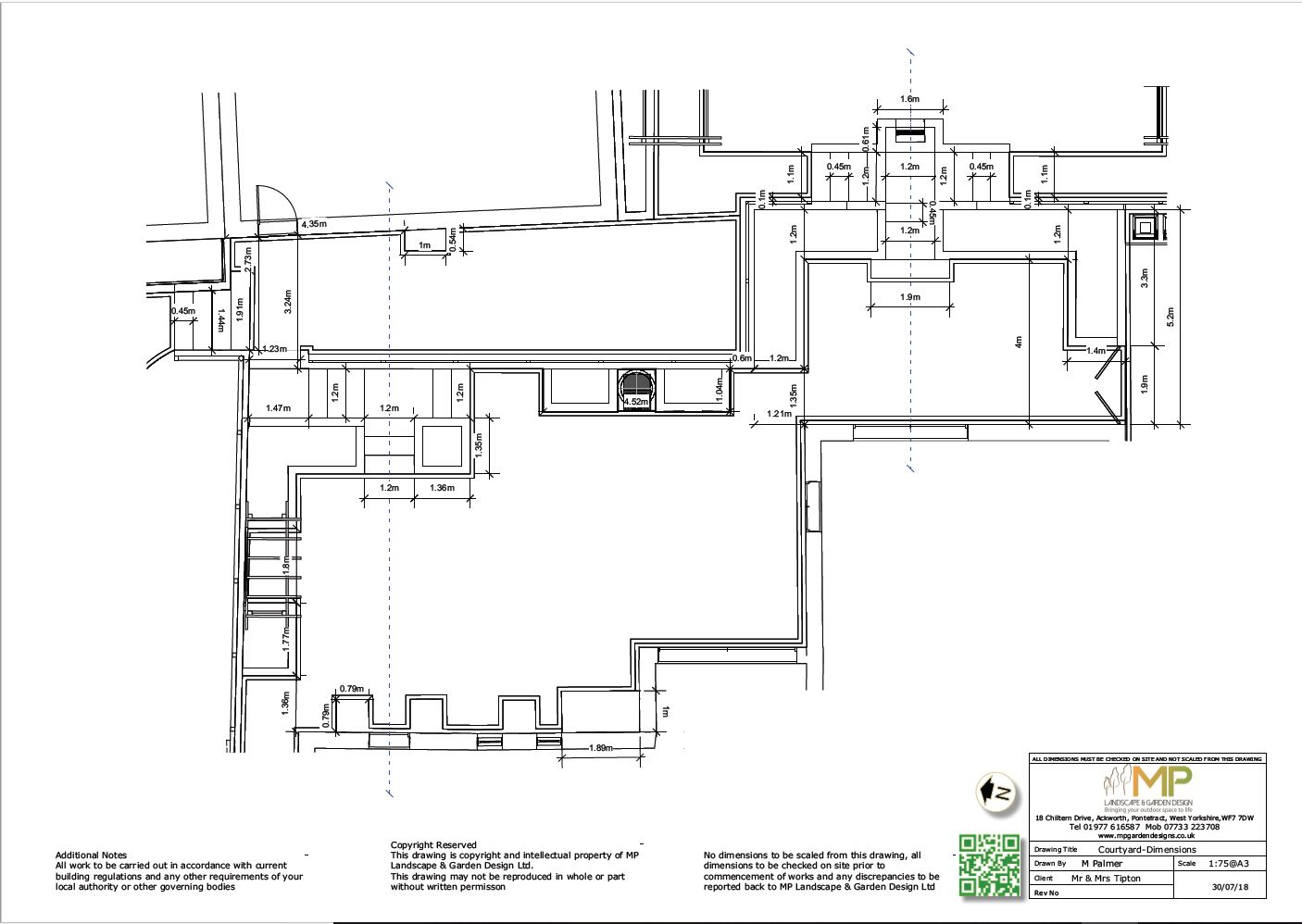 Courtyard layout dimensions plans  for a property in Castleford.
