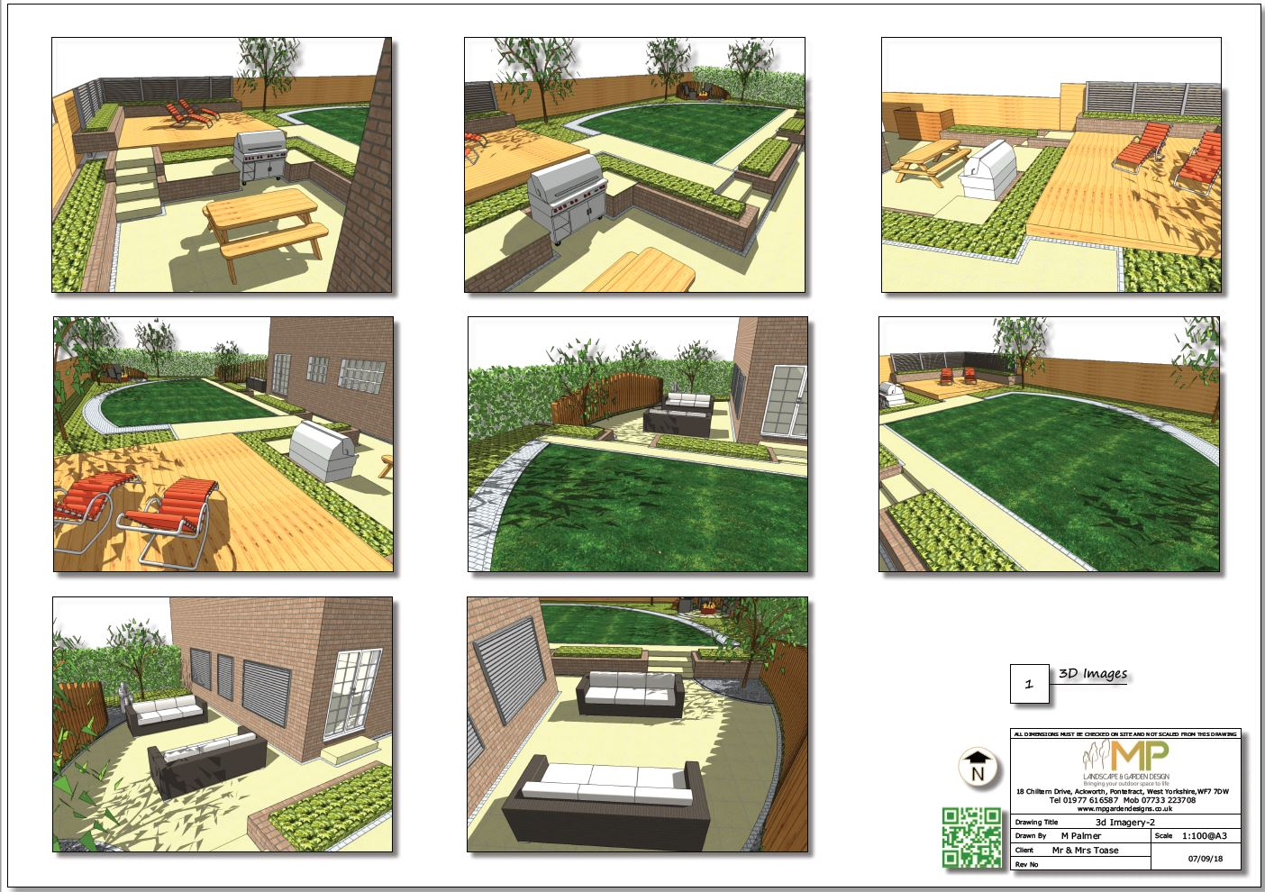 Garden design concept plan - 2 3D images  for a rear garden in Wakefield