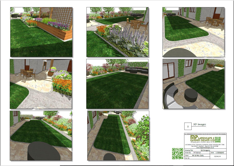 Garden layout plans 3D for a rear garden in Wakefield, West Yorkshire.