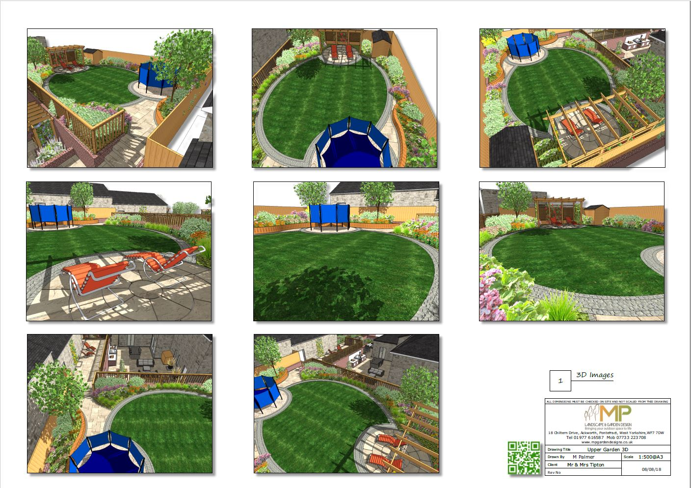 Garden layout plans 3D, for a property in Castleford.