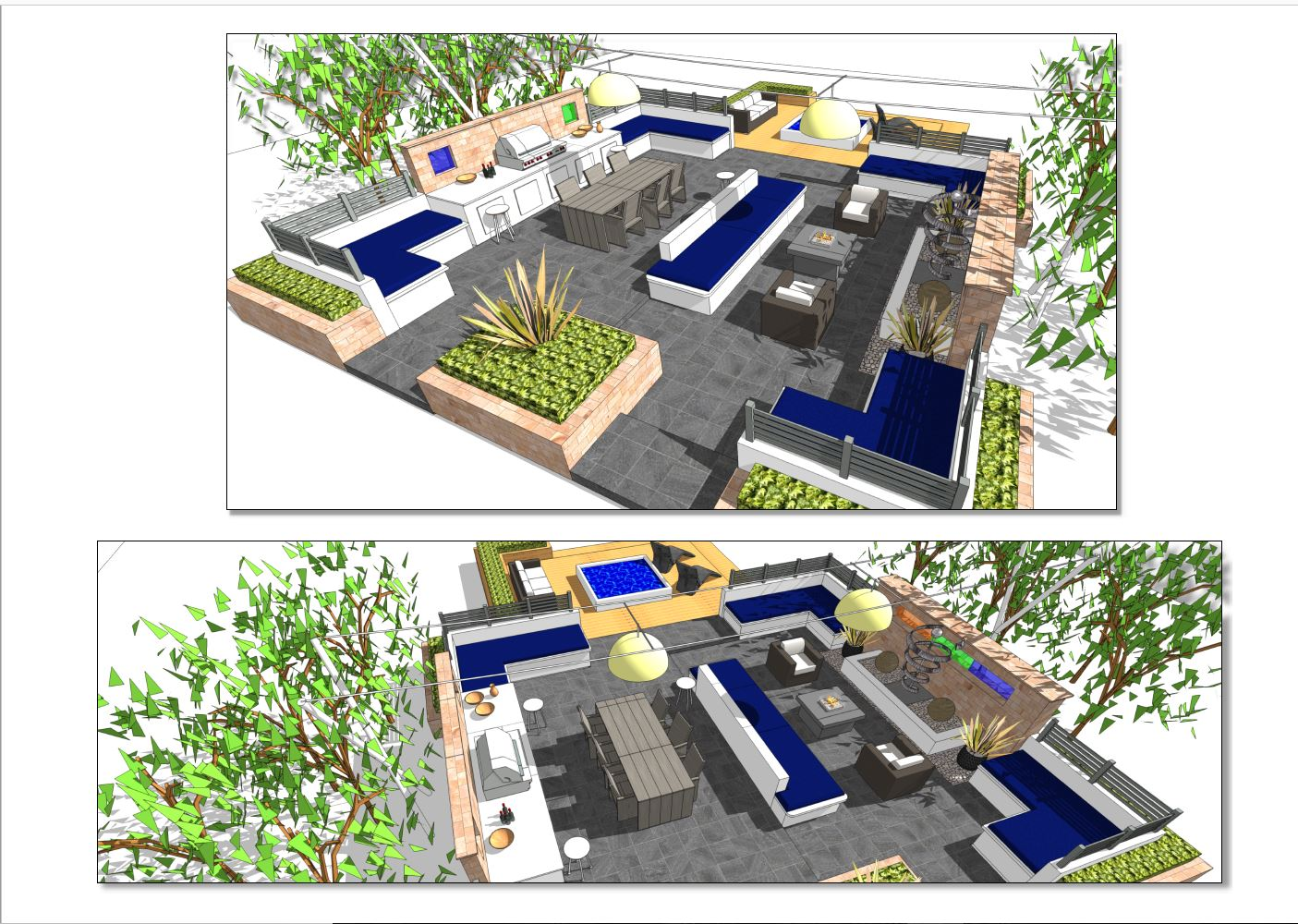 Concept 1 3D images for a outdoor dining and socializing area as part of a large garden in Leeds