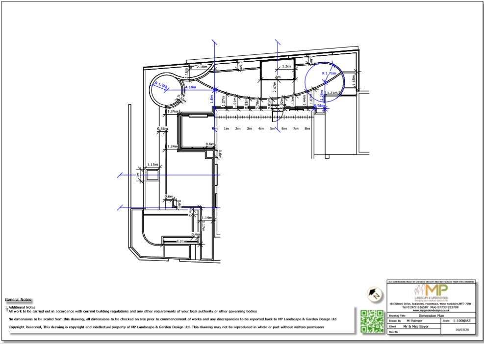 5, Garden layout dimensions plan for a property in Castleford.