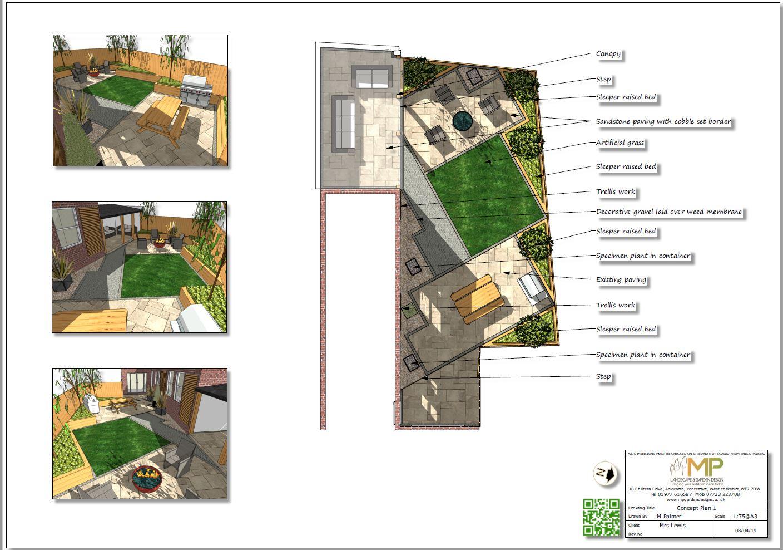 1, concept plan for a rear garden in Castleford